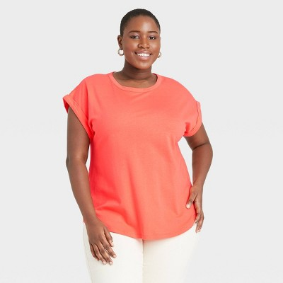 Women's Plus Size Round Neck Cuffed T-Shirt - Ava & Viv™