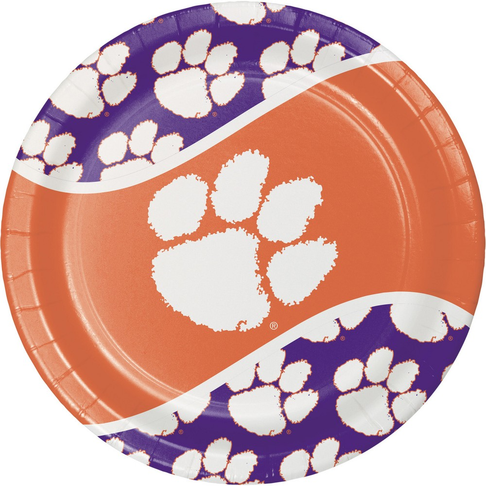 Image of 24ct Clemson Tigers Paper Plates Orange