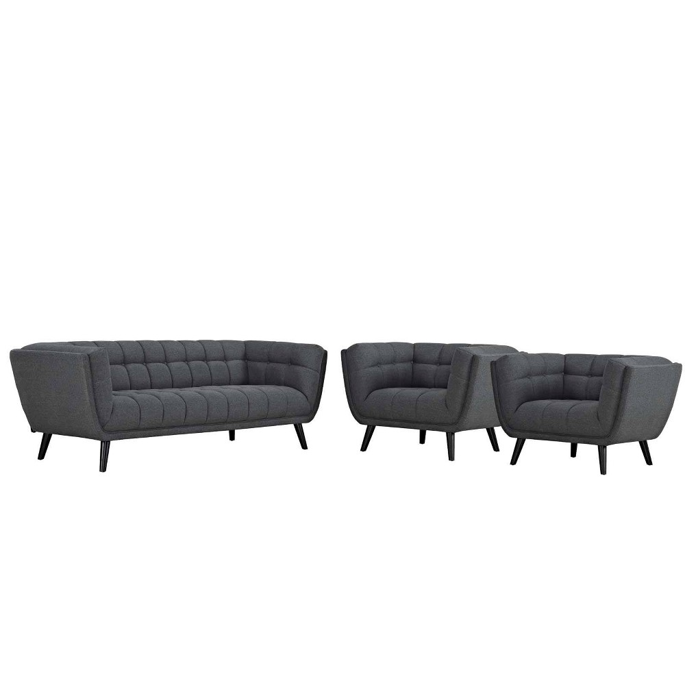 3pc Bestow Upholstered Fabric Sofa and Armchair Set Gray - Modway