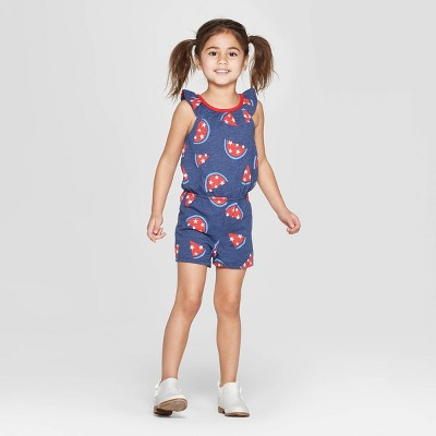 6416e82f0f8 Toddler Girls  4th Of July Romper With Bow Back - Cat   Jack™ Blue Red    Target