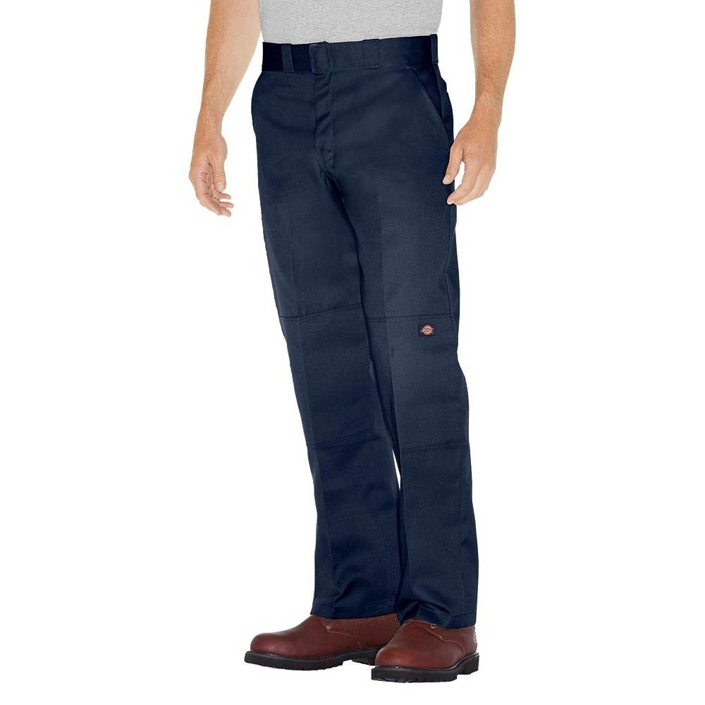 Dickies Men's Relaxed Straight Fit Twill Double Knee Work Pants- Dark Navy 36x32