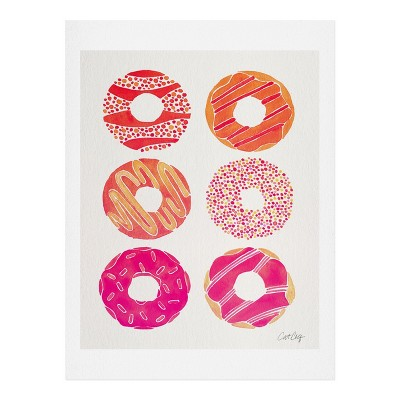 11  x 14  Cat Coquillette Half Dozen Pink Donuts Wall Art Print Pink - society6