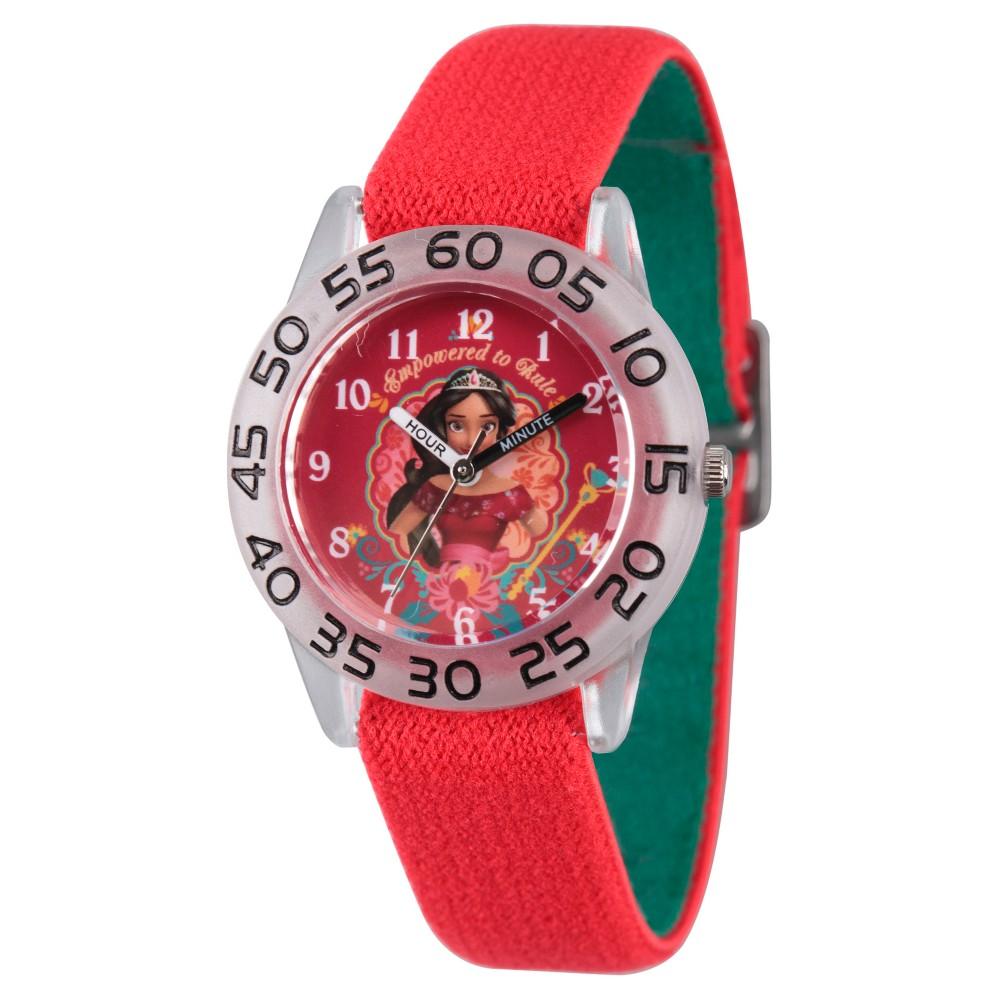 Girls' Disney Elena of Avalor Clear Plastic Time Teacher Watch - Red, Purple