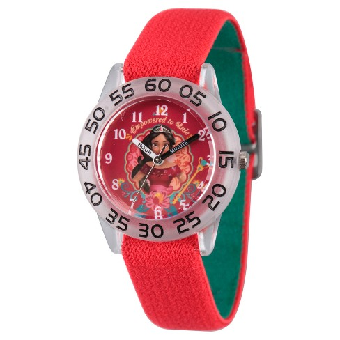 Girls' Disney Elena of Avalor Clear Plastic Time Teacher Watch - Red - image 1 of 1