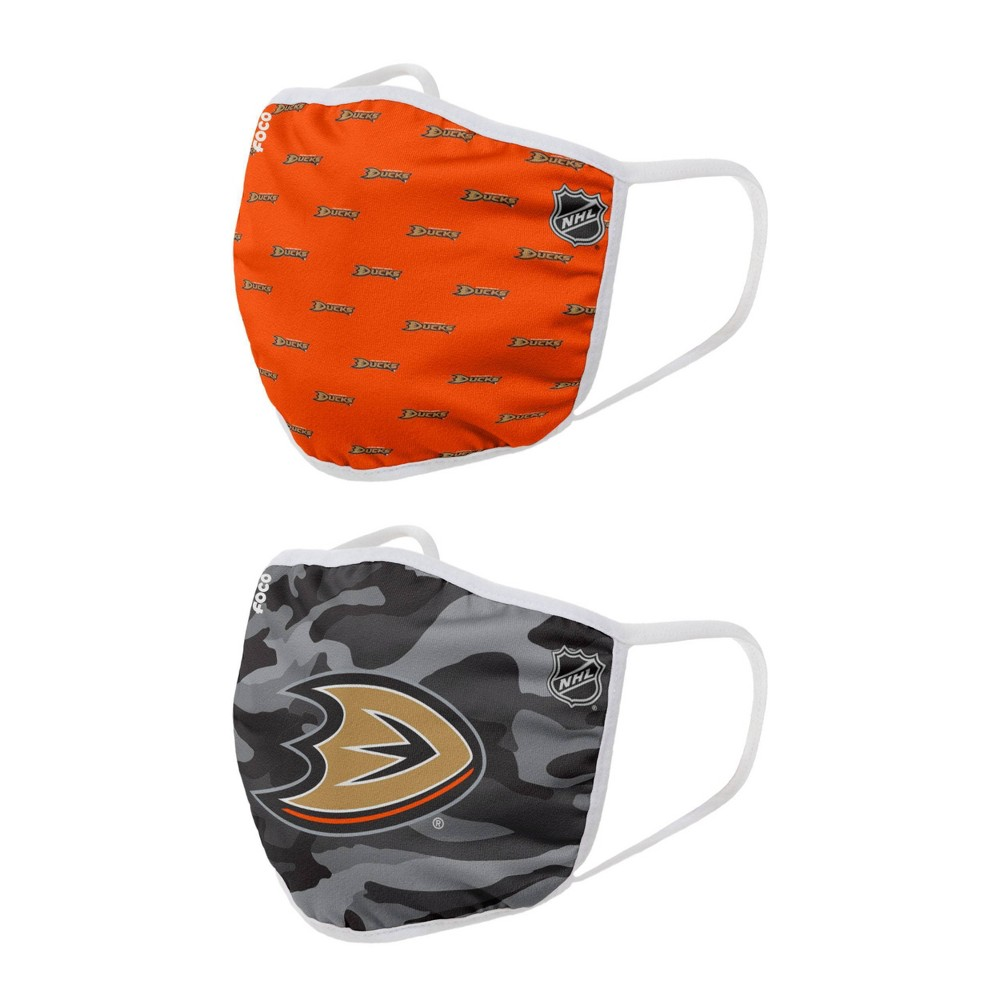 Nhl Anaheim Ducks Adult Face Covering 2pk