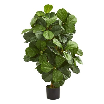 "42"" Artificial Fiddle Leaf Tree in Pot Black - Nearly Natural"