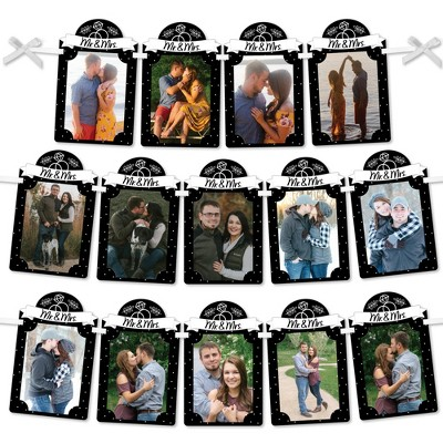 Big Dot of Happiness Mr. and Mrs. - DIY Black and White Wedding or Bridal Shower Decor - Picture Display - Photo Banner