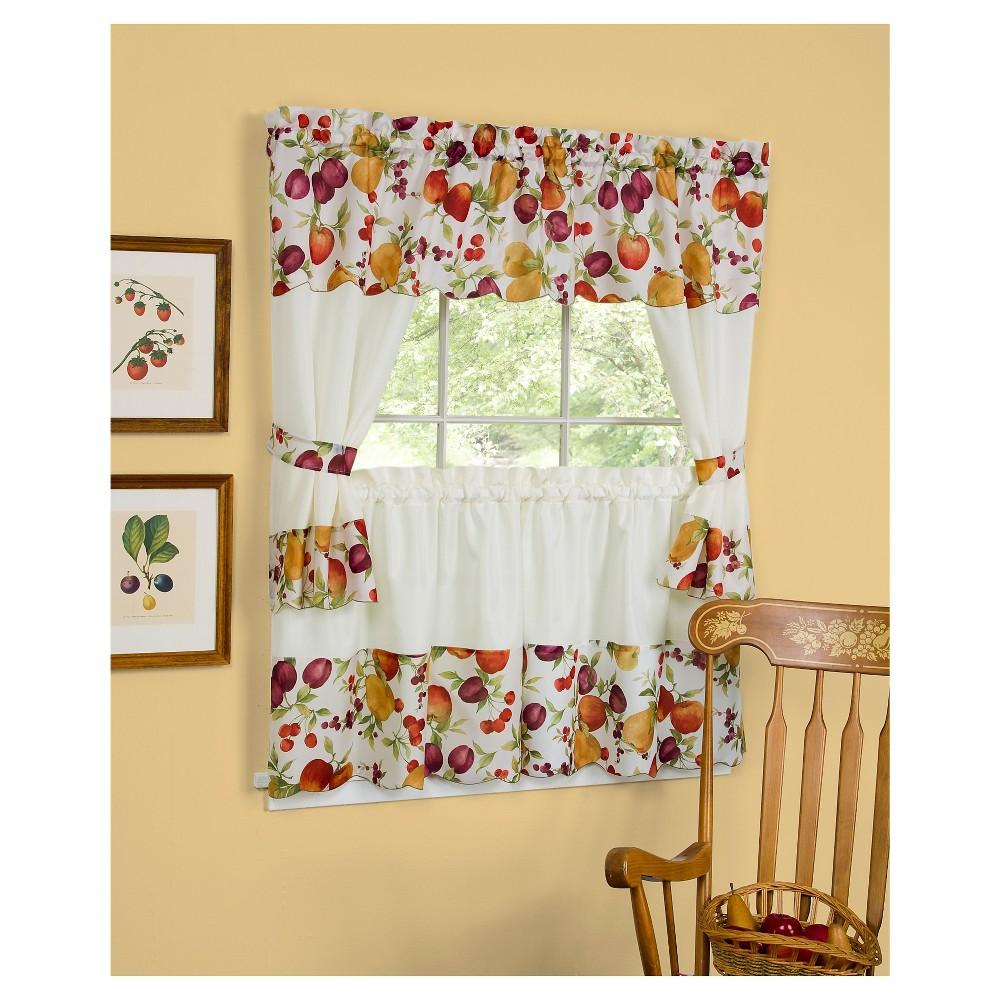 "Image of 36""x58"" Chesapeake Embellished Sheer Valence and Curtain Cottage Set Red - Achim"