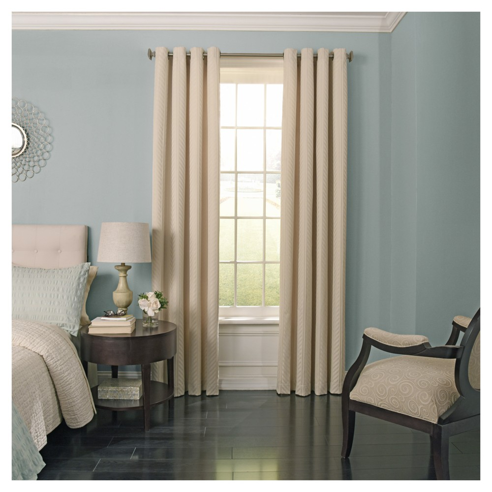 "Image of ""108""""x52"""" Malbrouk Blackout Curtain Panel Ivory - Beautyrest"""