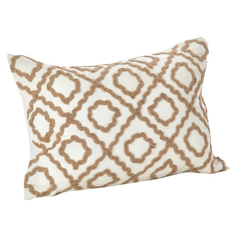 Jute Embroidered Pillow - image 1 of 2