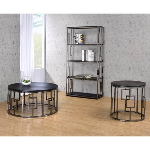3pc Kendall Occasional Coffee Table End Bookshelf Chrome Picket House Furnishings Target