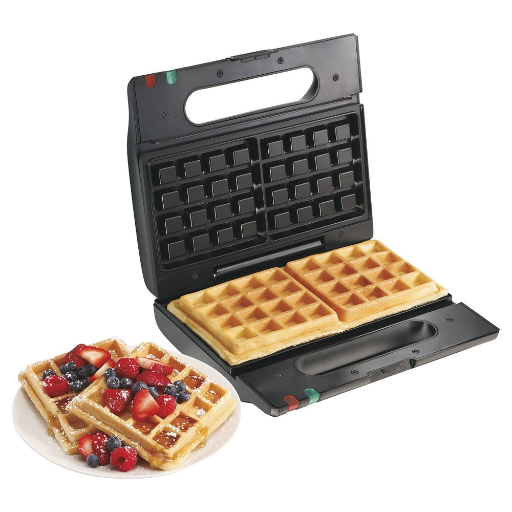 Proctor-Silex Belgian Flip Waffle Baker, Black - 26060Y Whip up a family-friendly gourmet breakfast in no time with the Proctor-Silex Belgian Flip Waffle Baker in Black (26060Y). This waffle iron is thoughtfully designed for ease of use with a non-stick coating, cool touch handle, temperature-ready light, and locking cover. Fun to use, simply flip the waffle maker over to create perfect waffles every time.