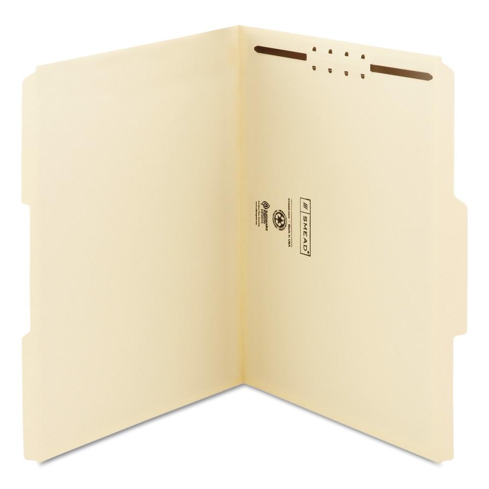 Smead File Folders Letter 1/3 Cut Top Tab One Fastener Manila 50ct, Beige
