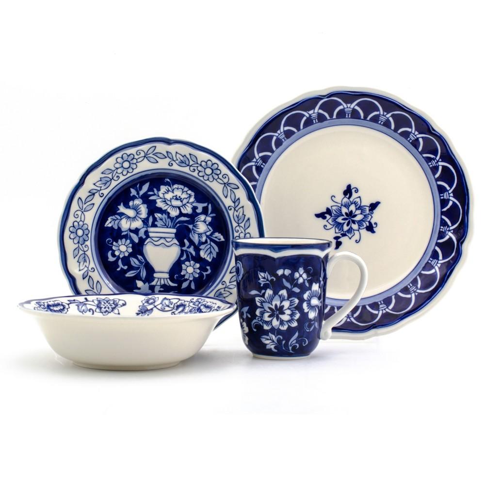 Image of 16pc Stoneware Blue Garden Dinnerware Set Blue/White - Euro Ceramica