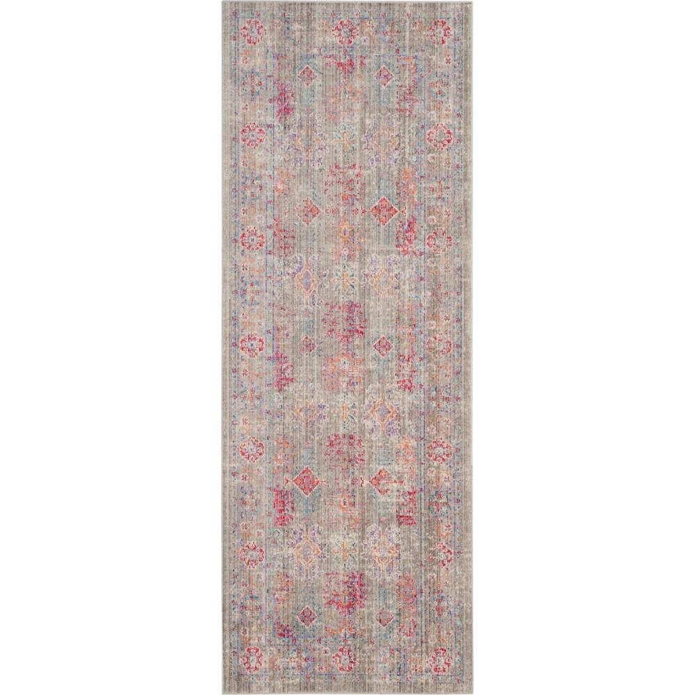 3'X12' Shapes Loomed Runner Gray/Fuchsia (Gray/Pink) - Safavieh
