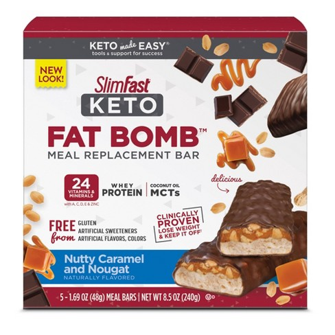 SlimFast Keto Fat Bomb Meal Replacement Bar - Nutty Caramel and Nougat Bar - 5ct - image 1 of 3