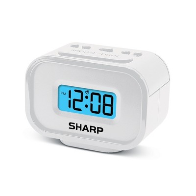Compact Battery Operated Digital Alarm Clock White - Sharp
