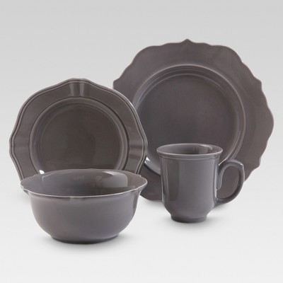 Wellsbridge 16pc Dinnerware Set Charcoal - Threshold™