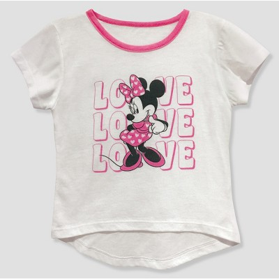 Toddler Girls' Mickey Mouse & Friends Minnie Mouse Short Sleeve T-Shirt - White 12M