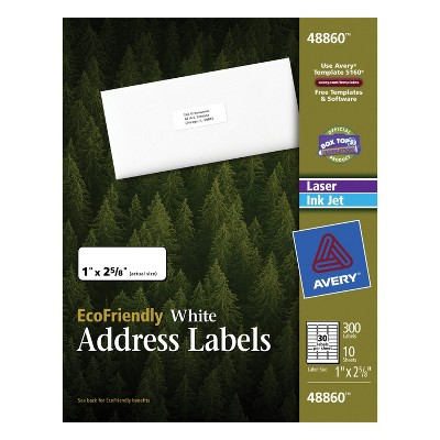 Avery EcoFriendly Permanent-Adhesive Address Labels For Laser and Inkjet Printers, 1 x 2-5/8 Inches, White, pk of 300