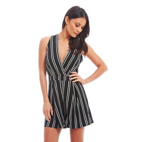 2f6f4d977100 Women s Double Stripe Romper Black White - Fashion Union (Juniors )   Target