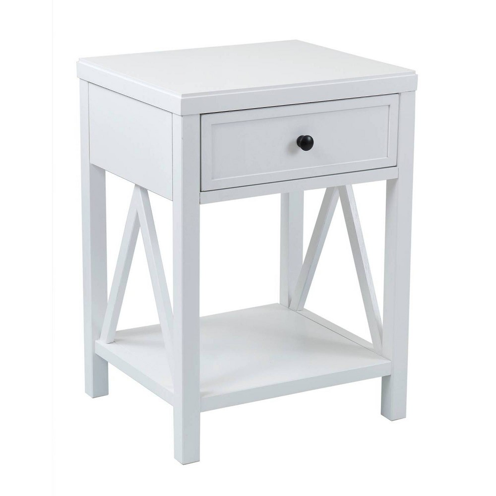 Wilco Acacia Accent Table White - East At Main