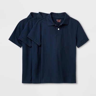 Boys' 3pk Short Sleeve Stretch Pique Uniform Polo Shirt - Cat & Jack™ Navy