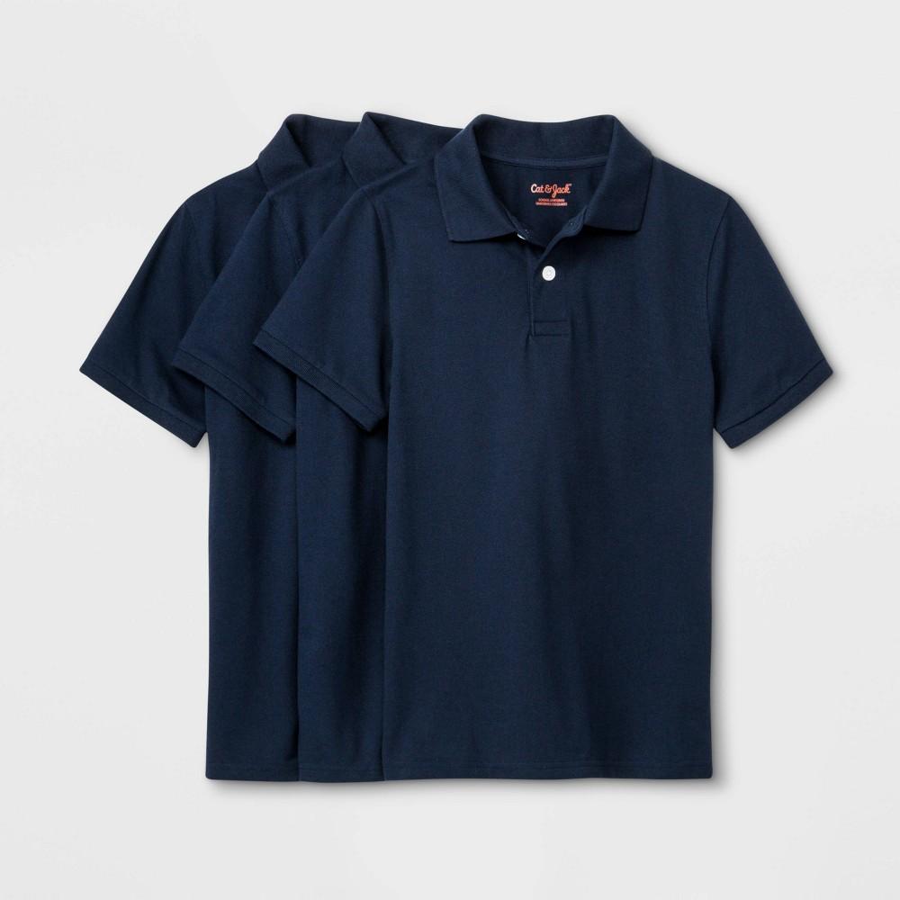 Boys 39 3pk Short Sleeve Stretch Pique Uniform Polo Shirt Cat 38 Jack 8482 Navy S