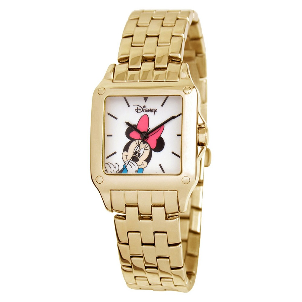 Disney Minnie Mouse Link Watch with White Dial - Gold, Women's