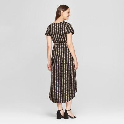 Target Black Flower Print High Low Dress