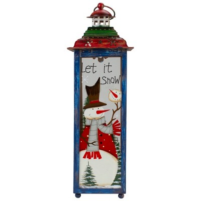 "Northlight Red, White and Green ""Snow"" Christmas Lantern 15"""