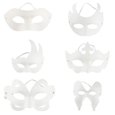 Juvale 12 Pack Die Cut Mardi Gras Paper Masks for DIY Creativity and Masquerade Party - 6 Design