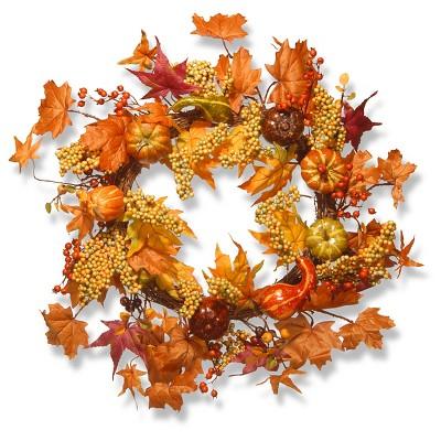 Maple and Pumpkin Wreath (24 )- National Tree Company
