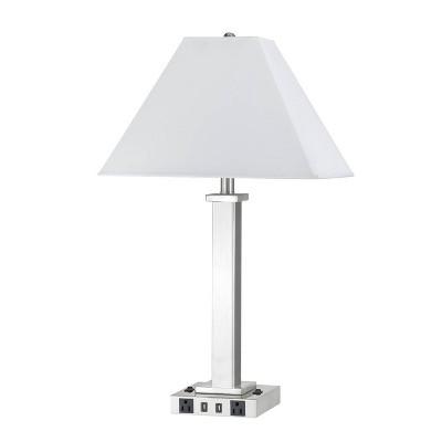 """28"""" Metal Desk Lamp (Includes LED Light Bulb) Brushed Steel - Cal Lighting"""