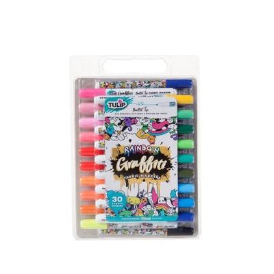 Tulip 30ct Rainbow Graffiti Bullet Tip Fabric Markers