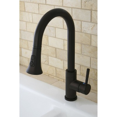 Gourmetier Single Handle Faucet with Pull Down Spout Oil Rubbed Bronze - Kingston Brass