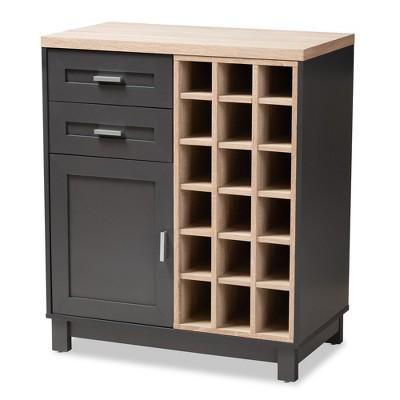 Maxime Light Oak Finished Wine Cabinet Brown/Dark Gray - Baxton Studio