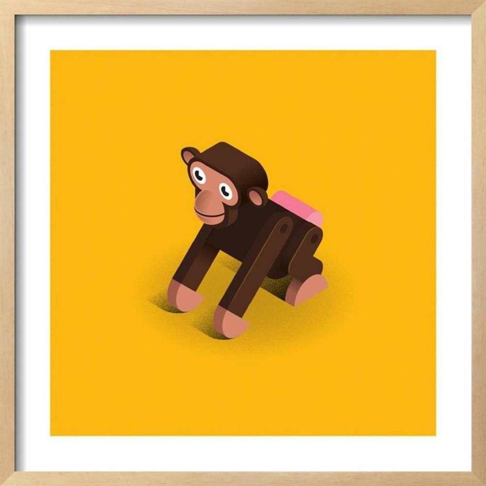Monkey By Bo Virkelyst Jensen Framed Wall Art Poster Print 25x25 - Art.com, Multicolored