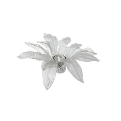 "Raz 13"" Poinsettia with Glitter Christmas Votive Candle Holder - White"