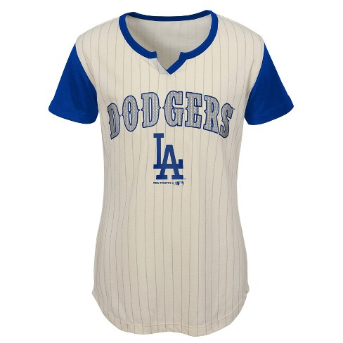 brand new 84bee bd426 MLB Los Angeles Dodgers Girls' In the Game Cream Pinstripe T-Shirt