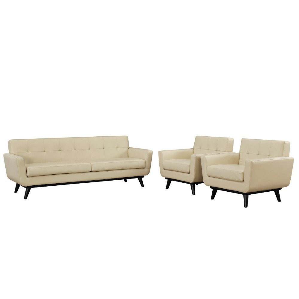 Engage 3pc Leather Living Room Set Beige - Modway