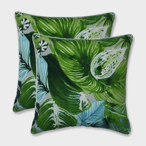 """18.5"""" Lush Leaf Jungle Throw Pillows Green - Pillow Perfect - image 1 of 1"""