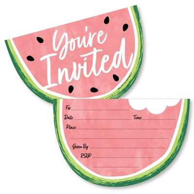 Big Dot of Happiness Sweet Watermelon - Shaped Fill-In Invitations - Fruit Party Invitation Cards with Envelopes - Set of 12