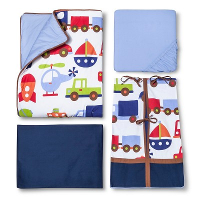 Bacati Crib Bedding Set - 10pc - Transportation