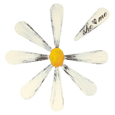 Letter2Word Hand Painted She Love Me Daisy 3D Wall Sculpture