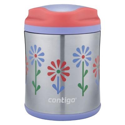 Contigo 10oz Stainless Steel Food Jar - Flowers Pink/Purple