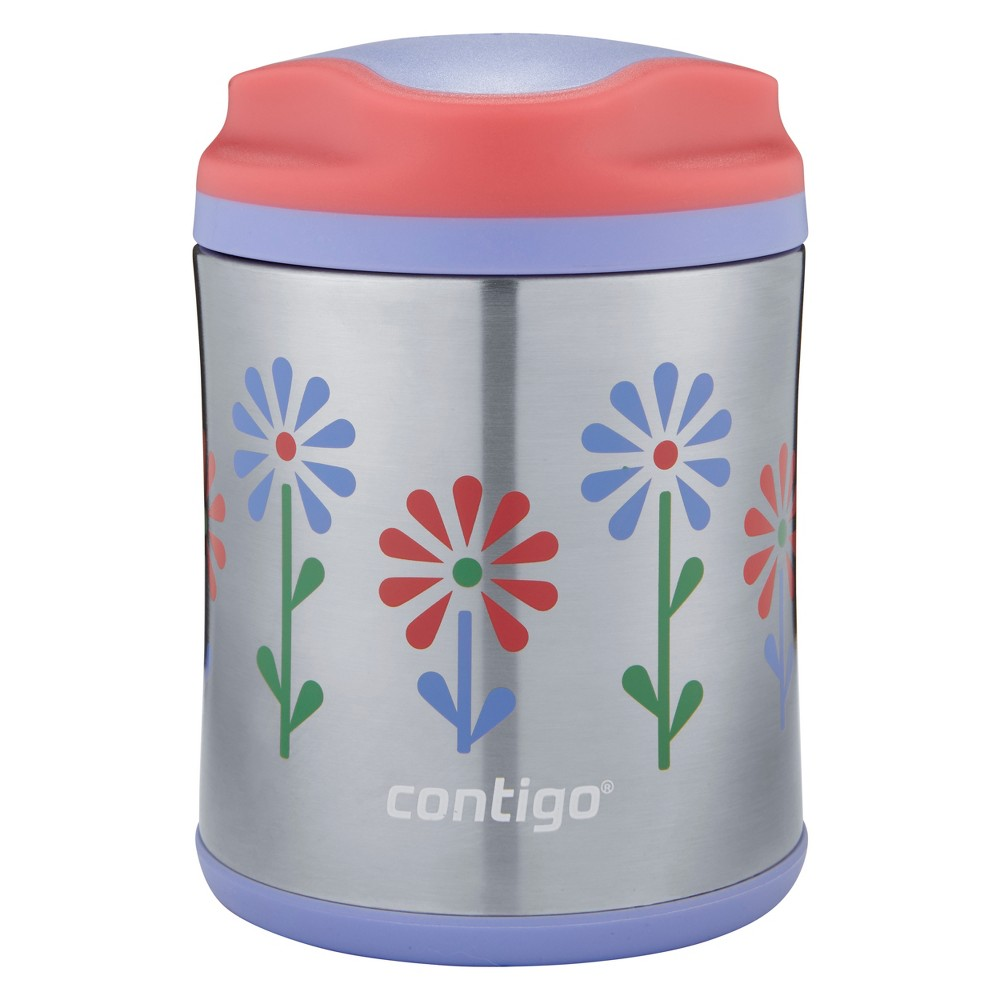 Image of Contigo 10oz Stainless Steel Food Jar - Flowers Pink/Purple