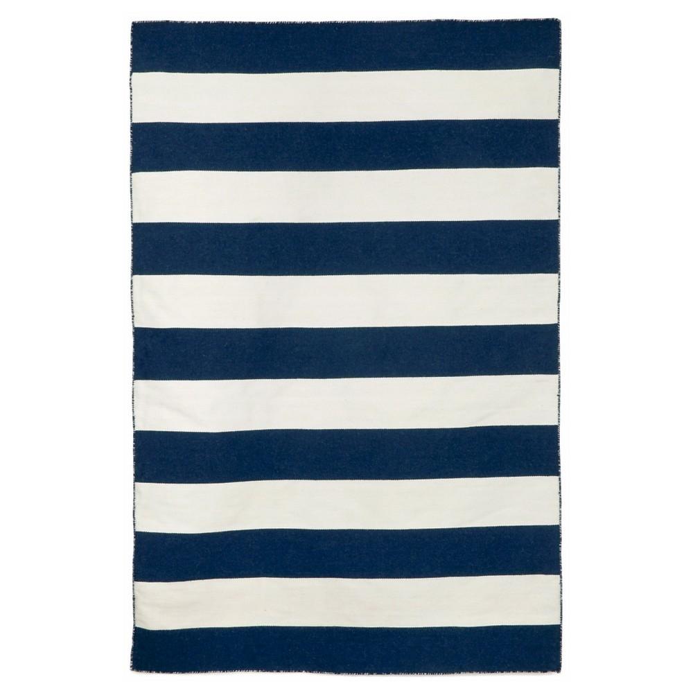Liora Manne Sorrento Rugby Stripe Indoor/Outdoor Area Rug - Blue (5'X7'6)