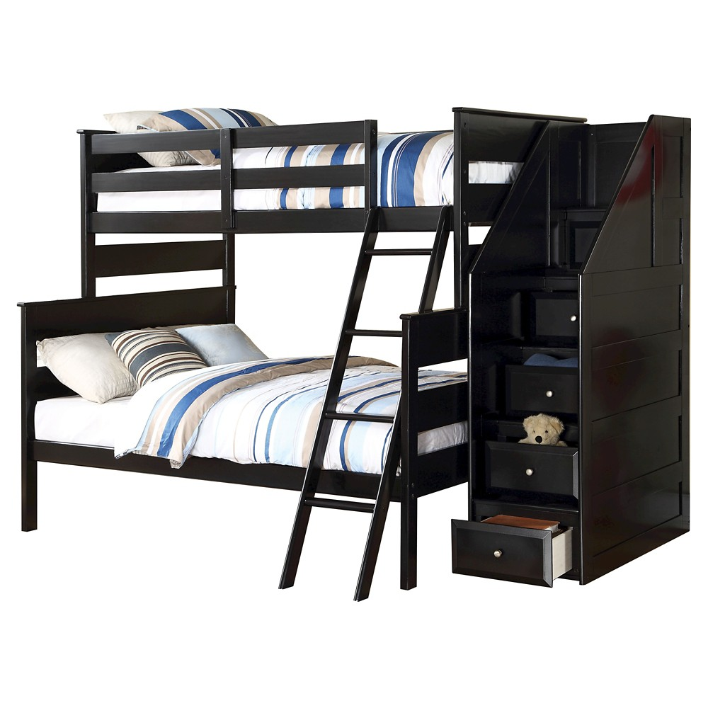 Image of Alvis Kids Bunk Bed with Storage - Black(Twin/Full) - Acme