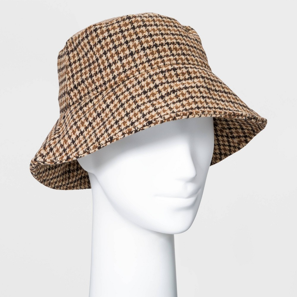 1950s Women's Hat Styles & History Womens Plaid Felt Bucket Hat - A New Day Brown $20.00 AT vintagedancer.com